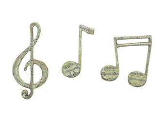 """Whimsical Paper Mache Musical """"Notes"""" Wall Decor Set of 3"""