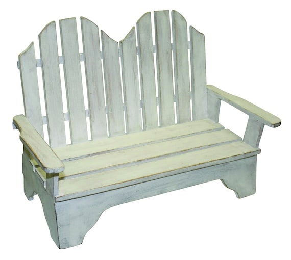 Outstanding Miniature Adirondack Style Wood Bench In Distressed White Finish Theyellowbook Wood Chair Design Ideas Theyellowbookinfo