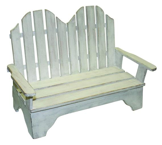 Sensational Miniature Adirondack Style Wood Bench In Distressed White Finish Machost Co Dining Chair Design Ideas Machostcouk
