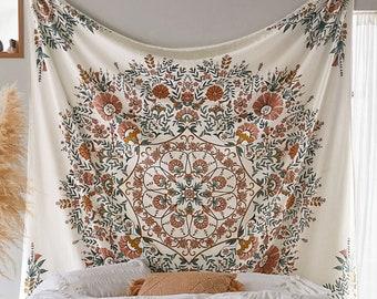 Boho Beach Towel, Flower Wall Tapestry, Wall Hangings, Window Decoration, Vintage Printed Tapestry, DIY Decoration, Gifts, Wall Tapestry.