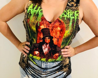568c14d1dd43ed Alice Cooper Sexy Distressed Custom Cut Bleached Band Concert T-Shirt Black  Women s Shredded - Size M