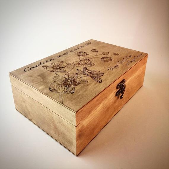 Custom Tea Tea Box Gift Tea lovers gift Personalized Tea Box Tea Organizer Keepsake Box Rustic Wood Tea Box