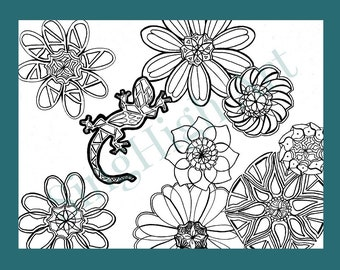 Gecko Coloring Page Lizard Adult Printable Book Relaxing Flowers Shapes Hand Drawn Color Gel Pen