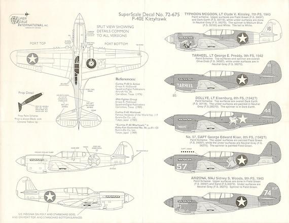 ORIGINAL !!! Curtiss P-40E Kittyhawk Mk.1a F391 1:72 FROG Decal