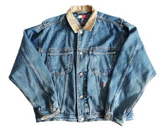 f71e60b7 Vtg 90s Tommy Hilfiger Denim Jacket size Large Made in Canada