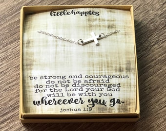 Joshua 1:9 cross necklace - Encouragement - Bible scripture - Faith - Friendship necklace - cute