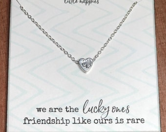 f40253946 Best friend necklace, four-leaf clover, friendship necklace, best friend  gift, gift for her, womens necklace, dainty necklace, unique gift