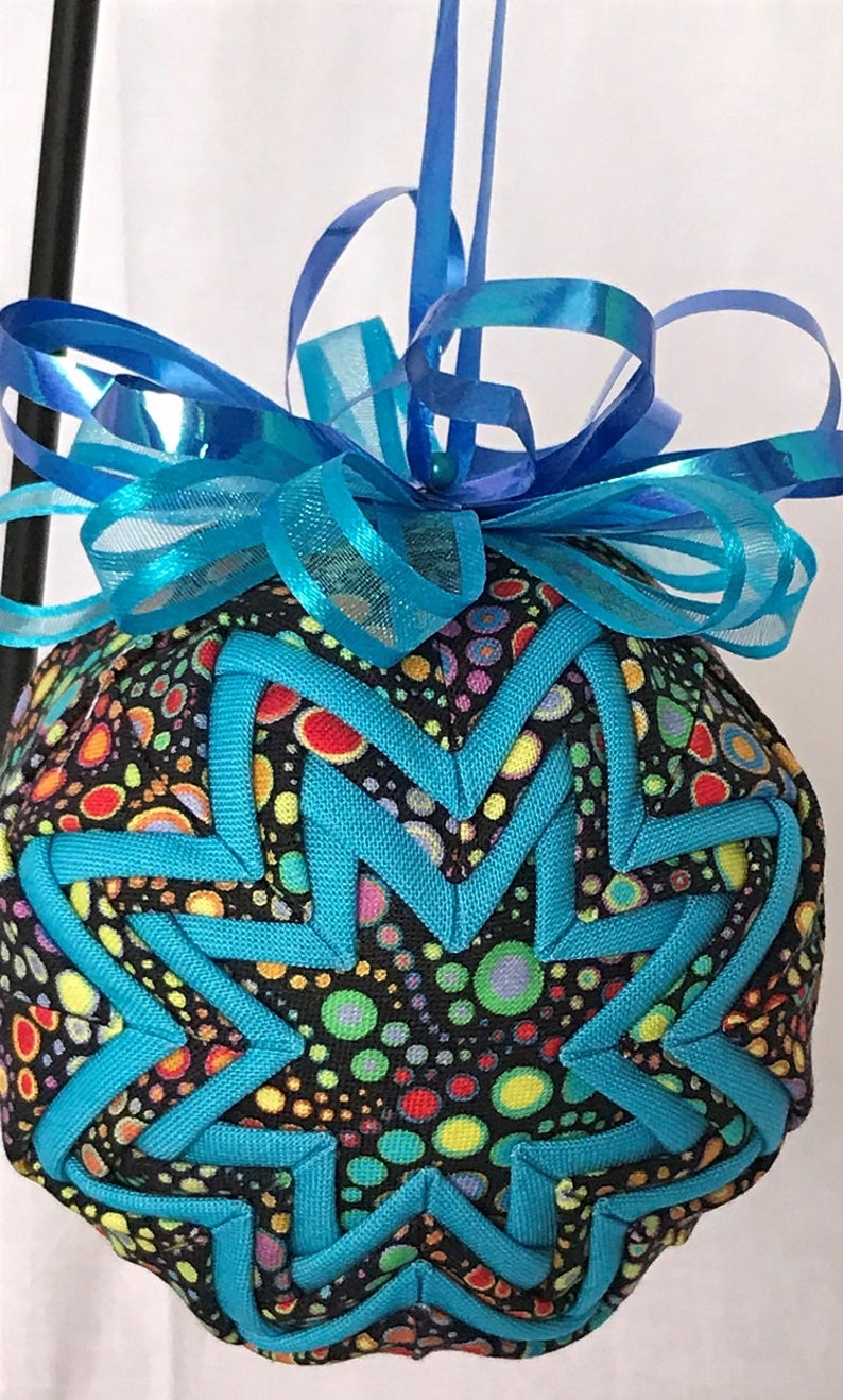 Multi Colored Bubbles Dots On Black and Turquoise Handmade Quilted No Sew 3 Ornament
