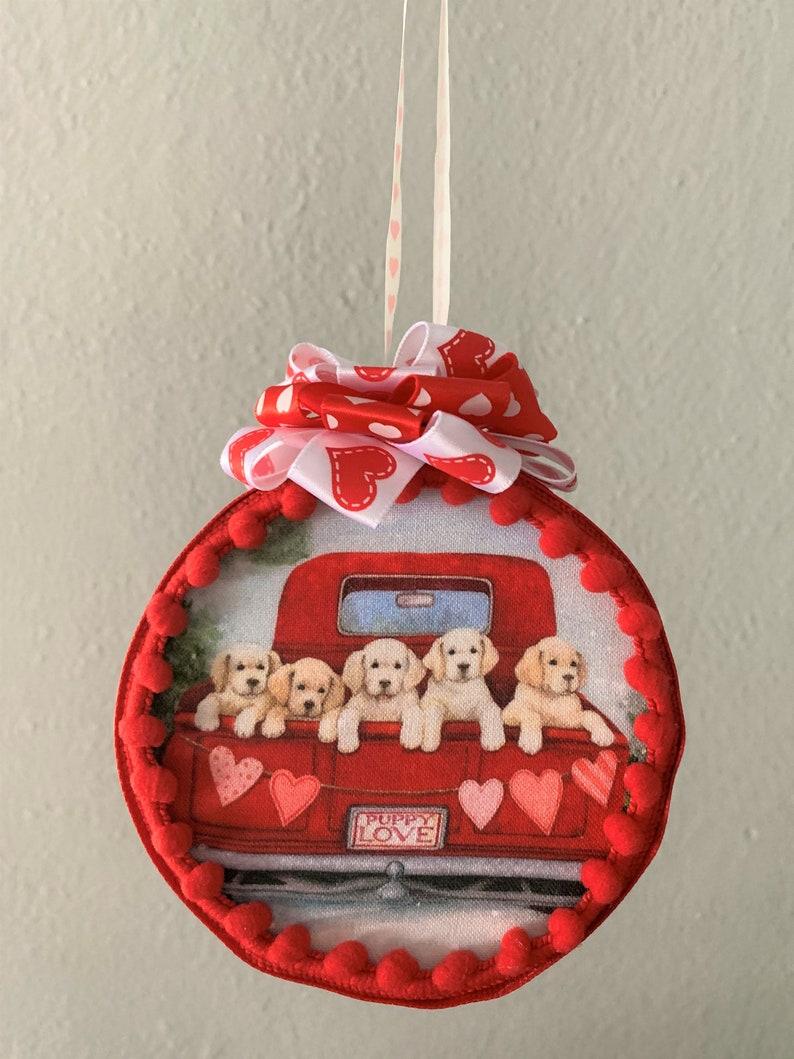 Quilted Handmade Valentine Puppies Truck Fabric No Sew 4 Ornament Love Tree Hanger Hearts Golden Retrieversr