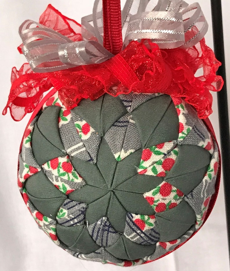 Gray and White With Cherries Handmade Quilted No Sew 3 Ornament 2 Sided
