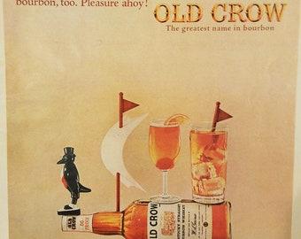 1964 Old Crow Bourbon Vintage Magazine Ad