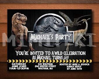 Jurassic Park Birthday Invitations, Jurassic Park Invitation, Jurassic Park Party, Jurassic World Birthday Invitation, Jurassic World Party