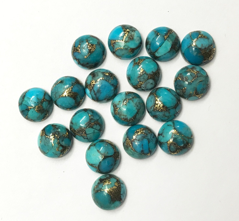 10 pièces 12 mm Turquoise bleu cuivre Turquoise mm Cabochon rond   AAA 12mm Turquoise Cabochon rond en cuivre   Cuivre rond Turquoise   Cabochon turquoise c821cb