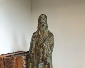 Vintage Bronze Statue on Wood Stand