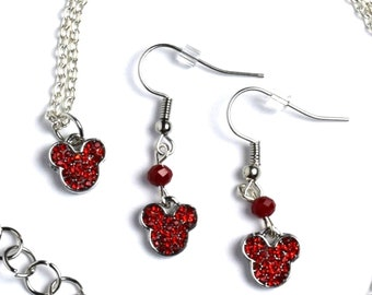 Silver Mickey Mouse Jewelry | Silver Mickey Mouse Earrings | Mickey Mouse Necklace | Mickey Jewelry | Mickey Earrings | Red Mickey Necklace