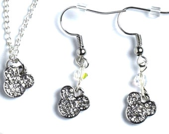 Silver Mickey Mouse Jewelry | Silver Mickey Mouse Earrings | Mickey Mouse Necklace | Mickey Jewelry | Mickey Earrings | Mickey Necklace