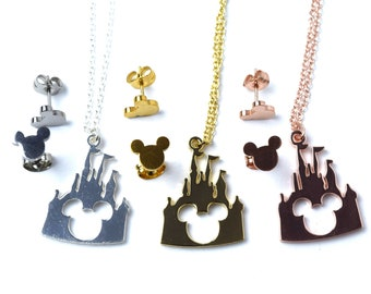 Disney Castle Necklace with Mickey Mouse Earrings | Gold Castle Necklace | Silver Castle Necklace | Rose Gold Castle Necklace | Gold Mickey