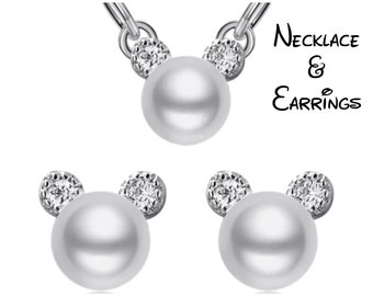 Rhinestone and Pearl Silver Mickey Mouse Jewelry | Pearl Mickey Mouse Earrings | Pearl Mickey Mouse Necklace | Disney Jewelry | Pearl Disney