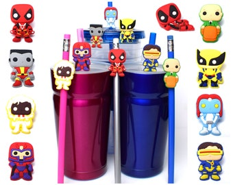 Deadpool and X-Men Straw Buddies | Wolverine, Cyclops, Storm, Mystique, Professor X, Colossus, Magneto Pencil Topper | Gift for Marvel Fan