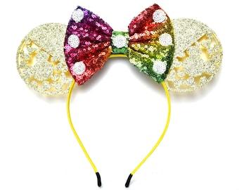 Yellow and Rainbow Glitter Minnie Ears | Ready to Ship!