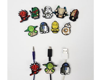 Star Wars Cable Protectors   BB8   Darth Vader   Yoda   C3PO   R2D2   Darth Maul   Storm Trooper   Boba Fett   Android iPhone cables