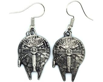 Antique Silver Star Wars Millennium Falcon Earrings   Star Wars Earrings   Millennium Falcon Jewelry   Star Wars Jewelry   Star Wars Fan