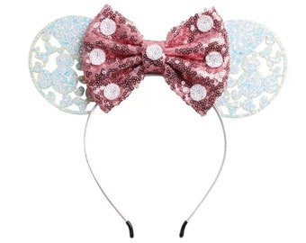 White and Pink Glitter Minnie Ears | Ready to Ship!
