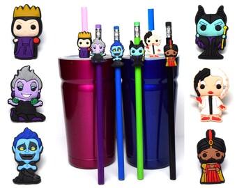 Disney Villains Straw Buddies | Pencil Topper | Maleficent | Cruella DeVil | Snow White Evil Queen | Hades | Ursula | Jafar | Gift Grab Bag