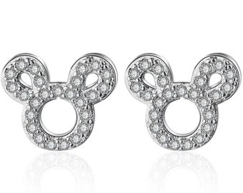 Silver & Cubic Zirconia Mickey Mouse Earrings | Disney Jewelry | Gift for Disney Fan | Anniversary Birthday | Disneyland | Disney World Trip