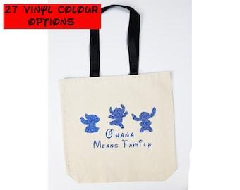 Custom Ohana Tote Bag | Custom Stitch Tote Bag | Custom Ohana Means Family Bag | Stitch Bag | Disney Tote Bag | Disney Canvas Tote Bag