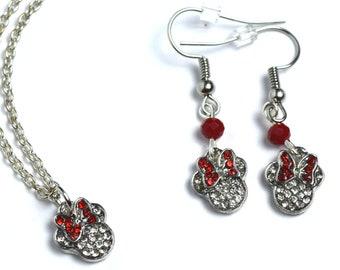 Silver Minnie Mouse Jewelry | Silver Minnie Mouse Earrings | Minnie Mouse Necklace | Minnie Jewelry | Minnie Earrings | Minnie Necklace