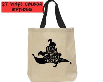 Custom Aladdin and Jasmine Tote Bag   Disney Canvas Tote Bag