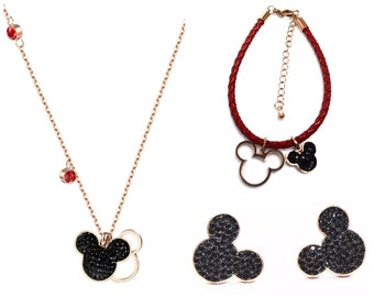 Mickey Mouse Jewelry Set | Mickey Mouse Earrings | Mickey Necklace | Mickey Bracelet | Disney Jewelry | Disney Bracelet | Disney Earrings