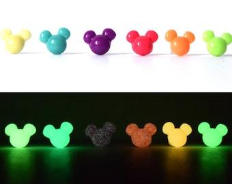 Glow in the Dark Mini Mickey Stud Earrings | Mickey Mouse Studs | Mickey Head Earrings | Glow Mickey Mouse Earrings | Glow Mickey Earrings