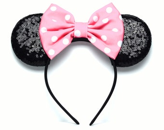 Pink & White Sequin Minnie Ears | Ready to Ship!