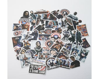 Falcon and the Winter Soldier Stickers | Vinyl Sticker for Laptop, Scrapbook, Phone, Luggage, Journal, Party Decoration | Assorted Stickers