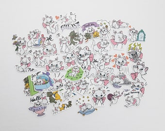 Marie Stickers | Vinyl Sticker for Laptop, Scrapbook, Phone, Luggage, Journal, Party Decoration | Disney Characters | Assorted Stickers
