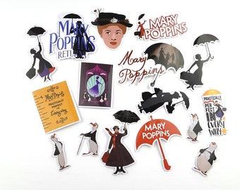 Mary Poppins Stickers   Vinyl Sticker for Laptop, Scrapbook, Phone, Luggage, Journal, Party Decoration   Assorted Stickers