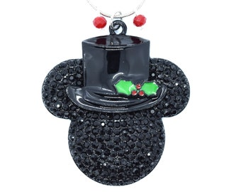 Top Hat and Holly Mickey Mouse Christmas Necklace | Disney Christmas Necklace | Christmas Disney Jewelry | Christmas Mickey Mouse Jewelry