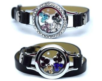 Disney Floating Charm Bracelet | Mickey Mouse Floating Charm Bracelet | Mickey Charm Bracelet | Disney Birthstone Floating Charm Bracelet