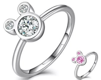 Adjustable Cubic Zirconia & Silver Hidden Mickey Mouse Ring   Gift for Disney Fan   Ready to Ship!