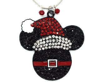 Rhinestone Santa Mickey Mouse Christmas Necklace   Disney Christmas Necklace   Christmas Disney Jewelry   Christmas Mickey Mouse Jewelry