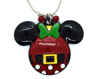 Santa Minnie Mouse Christmas Necklace   Disney Christmas Necklace   Christmas Disney Jewelry   Christmas Minnie Mouse Jewelry   Minnie Santa