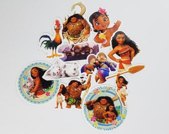 Moana Stickers | Vinyl Sticker for Laptop, Scrapbook, Phone, Luggage, Journal, Party Decoration | Disney Characters | Assorted Stickers