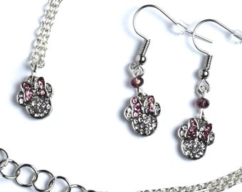Silver Minnie Mouse Jewelry | Silver Minnie Mouse Earrings | Minnie Mouse Necklace | Minnie Jewelry | Minnie Earrings | Pink Minnie Necklace