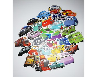 Pixar Cars Stickers | Vinyl Sticker for Laptop, Scrapbook, Phone, Luggage, Journal, Party Decoration | Assorted Stickers