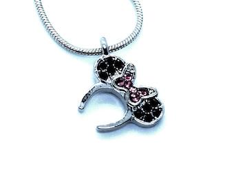 Rhinestone and Silver Minnie Ears Necklace   Pink Minnie Ears Necklace   Blue Minnie Ears Necklace   Disney Jewelry   Disney Necklace