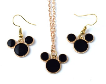 Black and Gold Mickey Mouse Jewelry | Black Mickey Mouse Earrings | Gold Mickey Mouse Necklace | Mickey Mouse Jewelry | Mickey Earrings