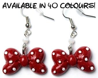 Custom Minnie Mouse Bow Earrings   Minnie Bow Earrings   Disney Bow Earrings   Minnie Mouse Earrings   Disney Earrings   Disney Jewelry