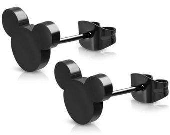 Black Hidden Mickey Earrings | Mickey Mouse Studs | Mickey Head Earrings | Mickey Mouse Earrings | Mickey Earrings | Disney Earrings